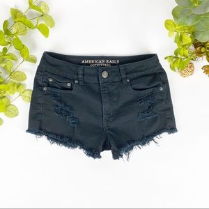 AEO Cut Off Shorts Distress Black Hi Rise Stretch